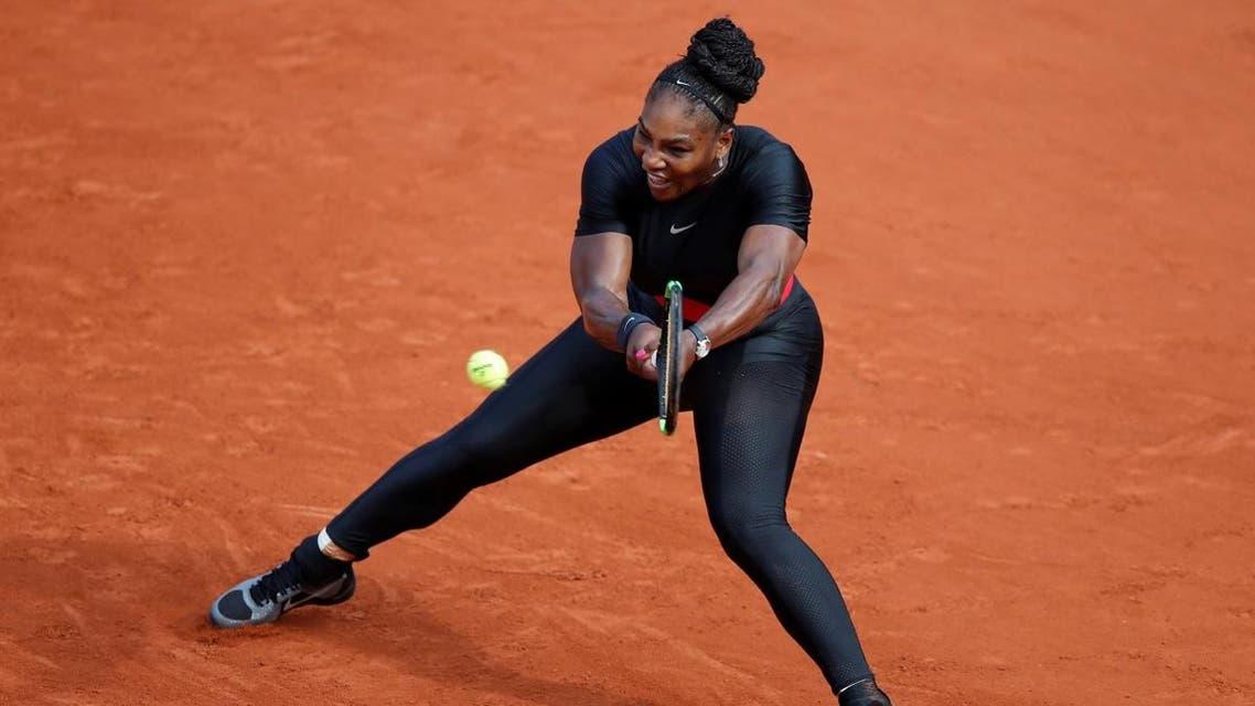 Serena Williams in action during her first round match against Czech Republic's Kristyna Pliskova. (Reuters)