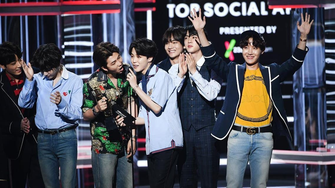 LAS VEGAS, NV - MAY 20: Music group BTS accepts the Top Social Artist award onstage during the 2018 Billboard Music Awards at MGM Grand Garden Arena on May 20, 2018 in Las Vegas, Nevada. Kevin Winter/Getty Images/AFP