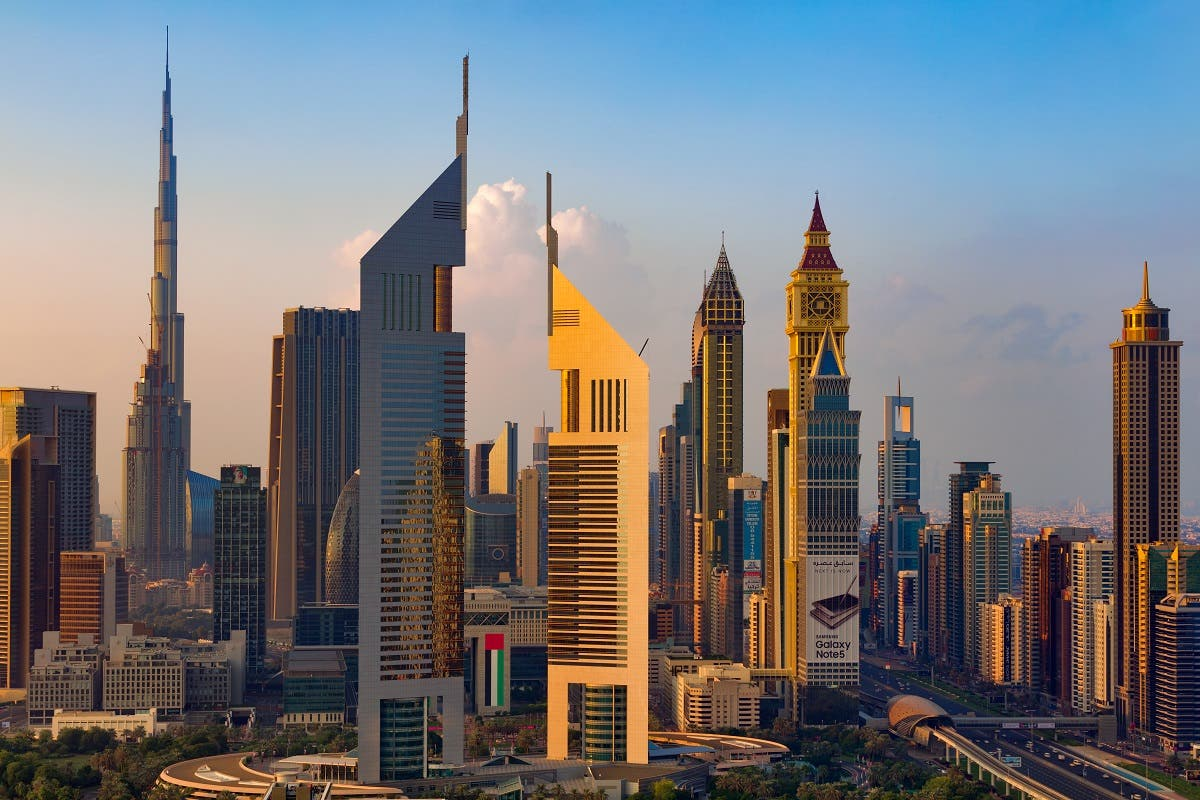A skyline view of the buildings of Sheikh Zayed Road and DIFC in Dubai. (Shutterstock)