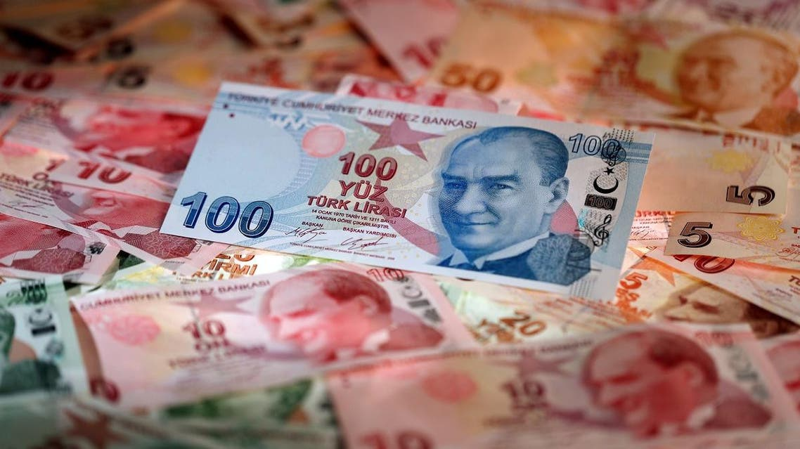Turkish Lira banknotes are seen in this picture illustration. (AFP)