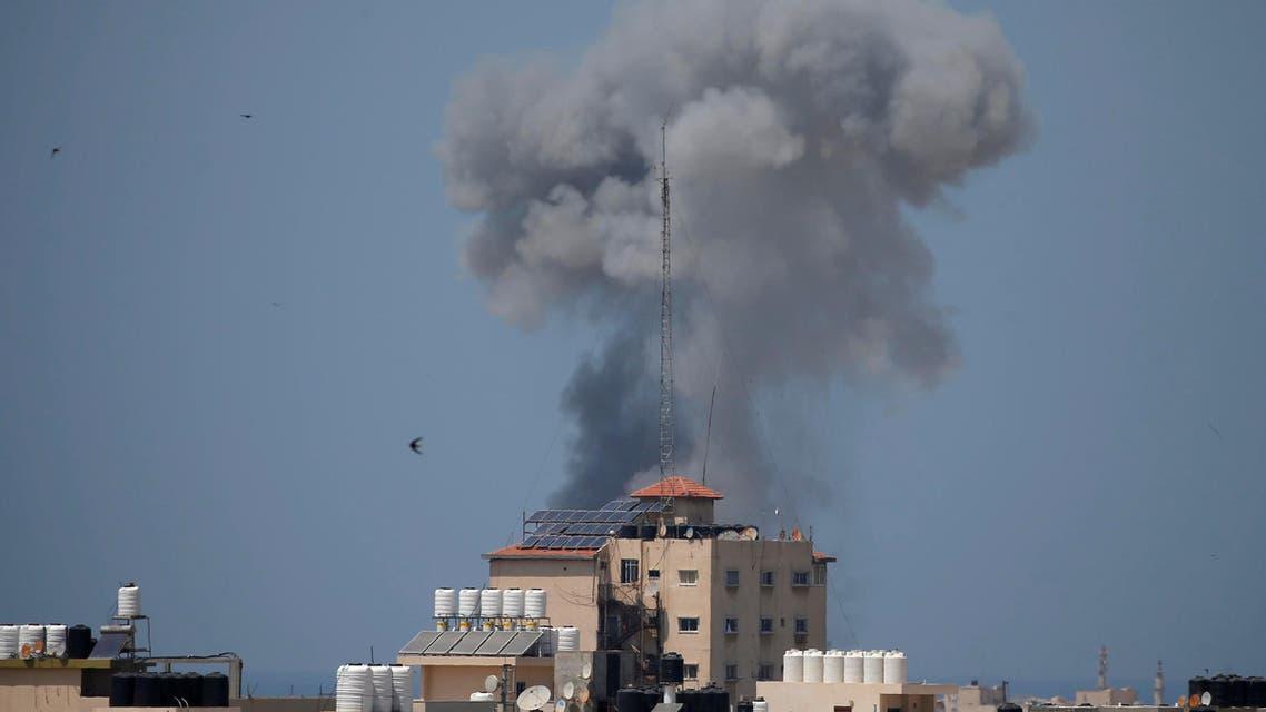 Smoke rises following an Israeli air strike in Gaza May 29, 2018. (Reuters)