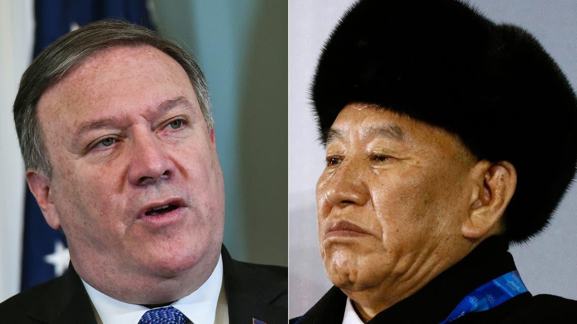 الجنرال كيم يونغ شول نائب رئيس اللجنة المركزية لحزب العمال الكوري الشمالي و وزير الخارجية الأميركي مايك بومبيو