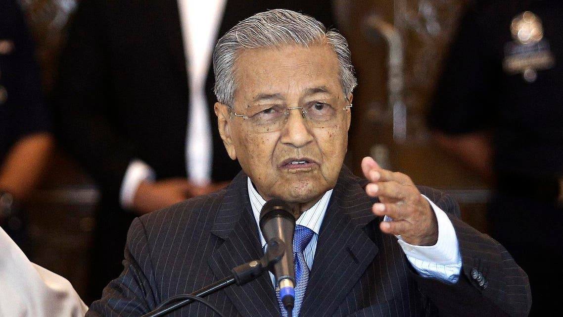 Malaysian Prime Minister Mahathir Mohamad during a press conference in Putrajaya on May 30, 2018. (AP)