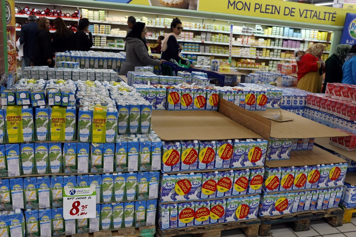 Cartons of milk products are seen in a supermarket in Rabat. (Reuters)