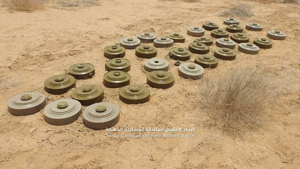 ألغام انتزعها الجيش اليمني من المواقع المحررة في حجة