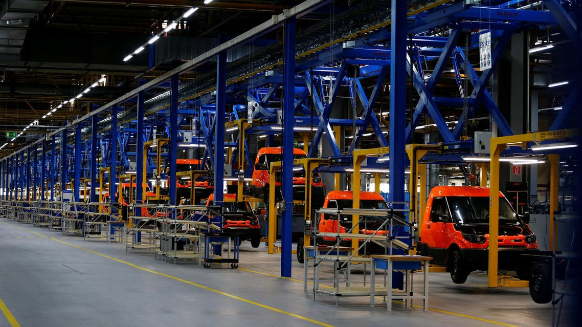 The production line of the new StreetScooter electric delivery van during an opening tour in Dueren near Cologne, Germany, on May 30, 2018. (Reuters)