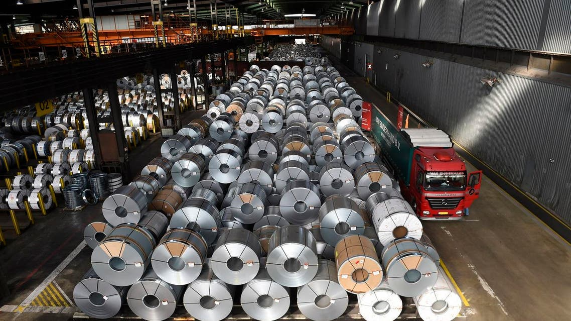 Steel coils are stored for delivery at the production site of German steel technology group Salzgitter AG in Salzgitter. (AFP)