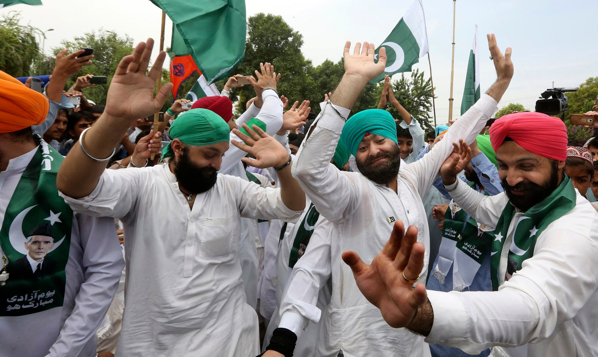 People from Pakistani Sikh community celebrate the 70th Independence Day in Peshawar, Pakistan, on Aug. 14, 2017. (AP)