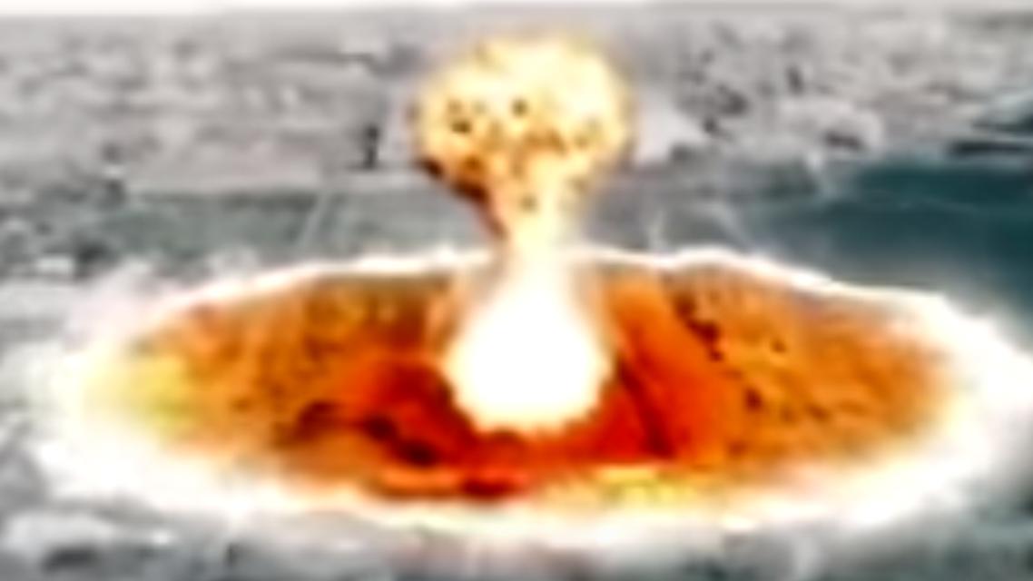 لقطة من فيديو بثته كوريا الشمالية سابقاً لهجوم نووي على واشنطن