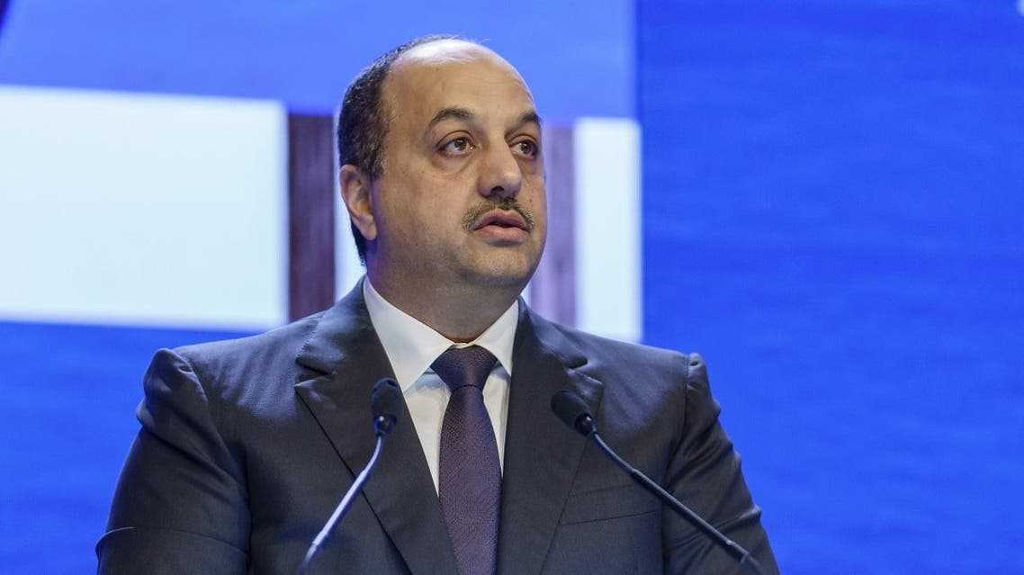 Qatar's Deputy Prime Minister and Defence Minister Khalid bin Mohammed Al Attiyah speaks at the fourth plenary session during the 17th Asian Security Summit of the IISS Shangri-La Dialogue in Singapore. (AFP)