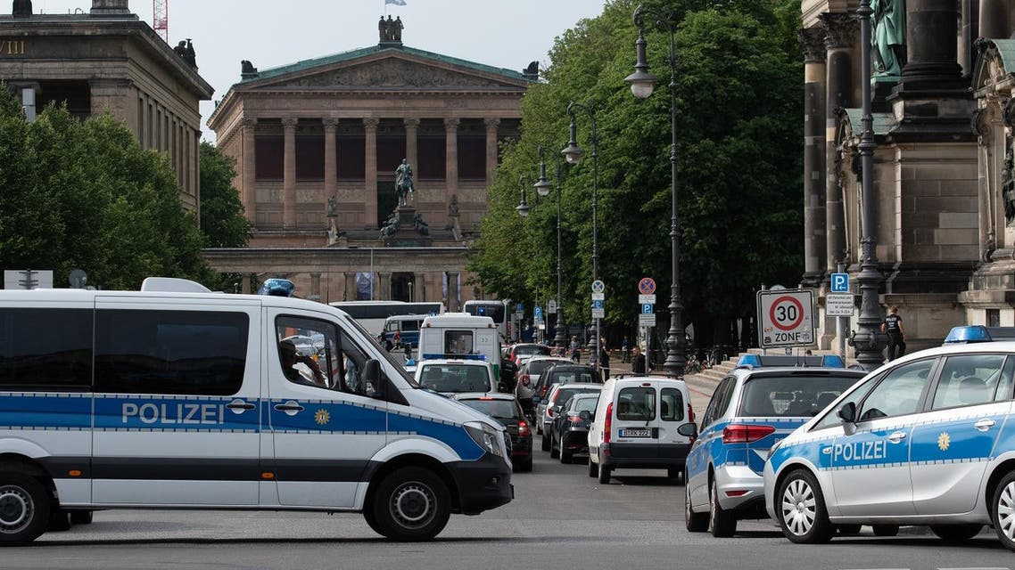Armed police cordon off the Cathedral in Berlin on June 3, 2018 following reports of a possible shooting.