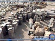 بالصور.. ترسانة صواريخ وأسلحة تركها الحوثيون قبل فرارهم