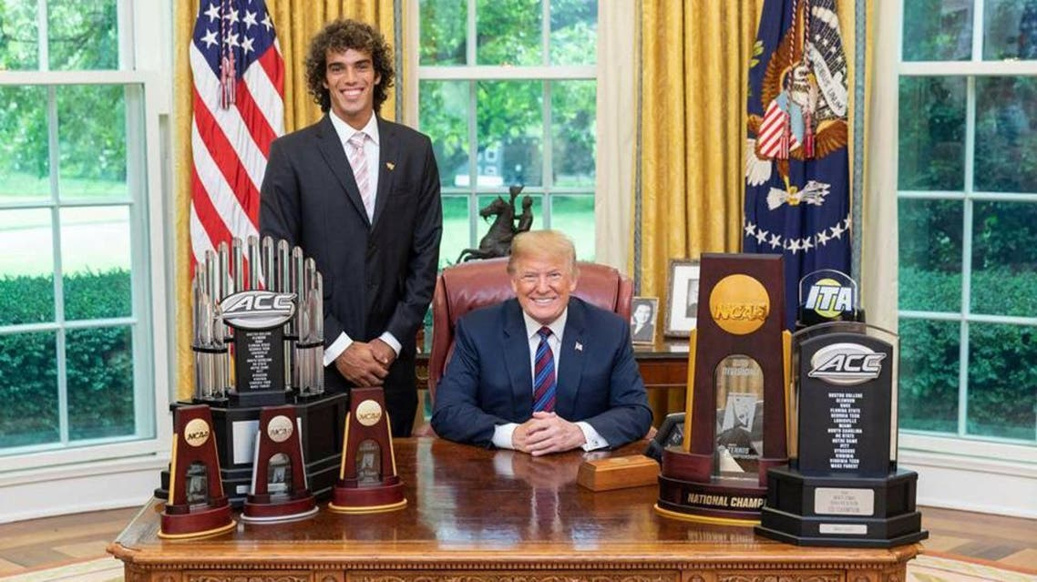 tunisian young tennisman with donald trump