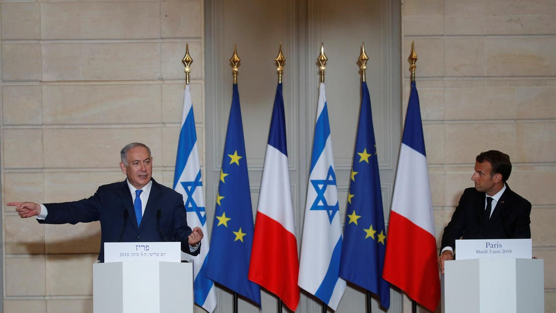 French President Emmanuel Macron and Israeli Prime Minister Benjamin Netanyahu attend a joint news conference at the Elysee Palace in Paris, France, June 5, 2018. (Reuters)