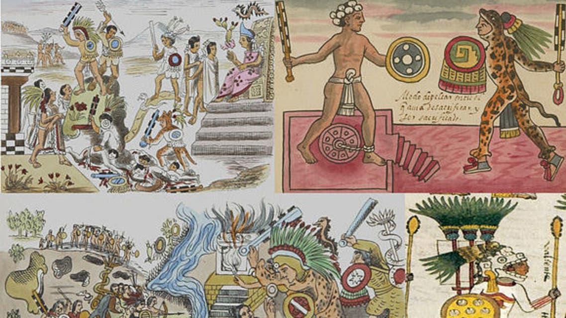 صورة تعبيرية تجسد معارك تينوتشتيتلان ضد تلاكسكالا و الحصول على القرابين البشرية