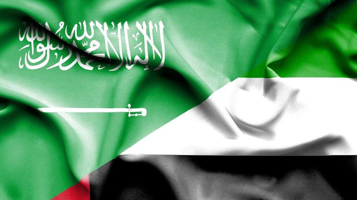 Waving flag of United Arab Emirates and Saudi Arabia shutterstock