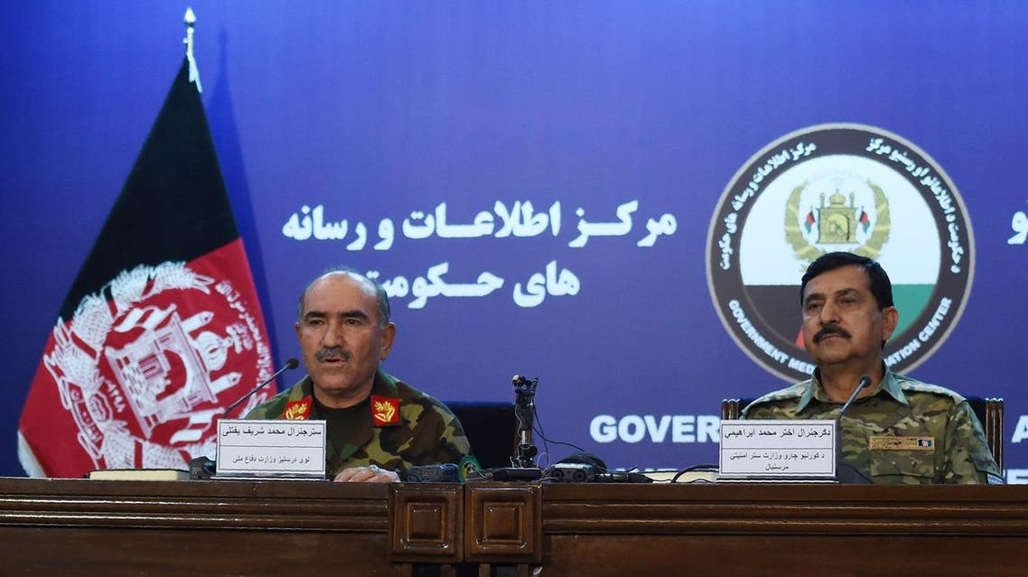 Afghan Army Chief of Staff, General Sharif Yaftali (L) and Deputy Minister, General Akhtar Mohammad Ibrahimi (R) look on during a press conference in Kabul on June 7, 2018. Afghanistan announced on June 7 a week-long ceasefire with the Taliban for Eid, though operations against other groups including ISIS will continue. (AFP)