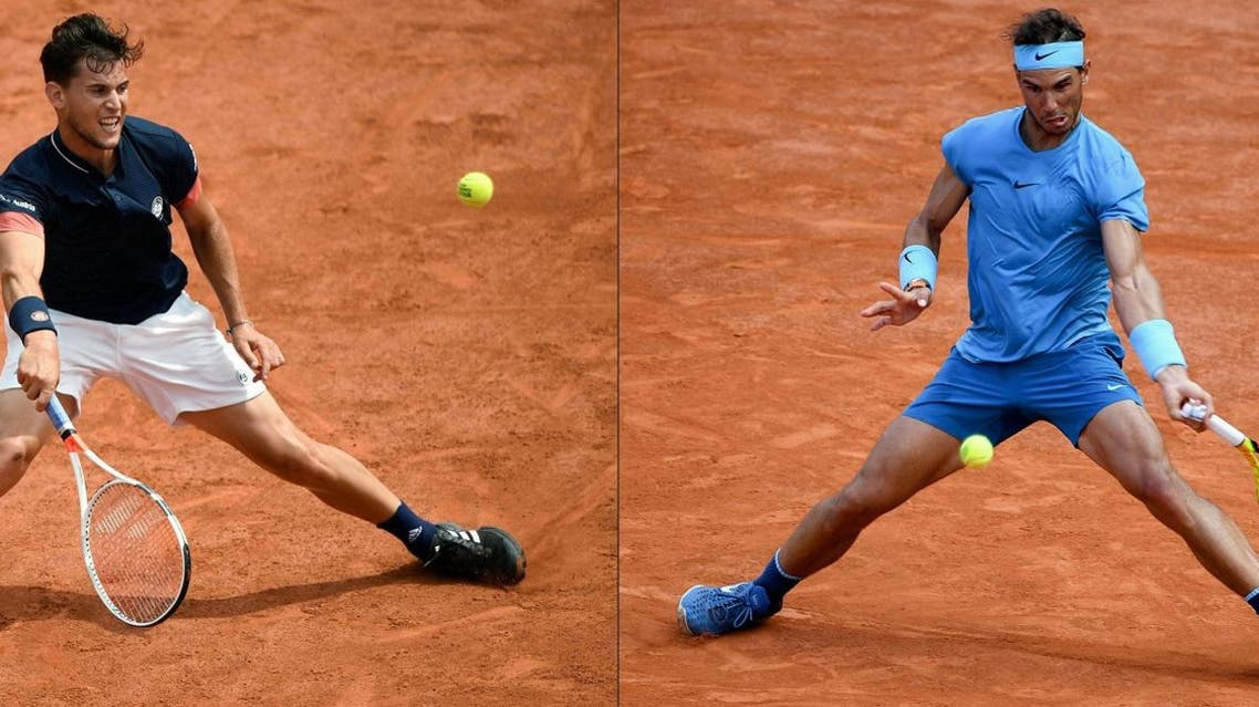 This picture combination shows Dominic Thiem (L) and Rafael Nadal (R) during their men's singles semi-final matches at the French Open in Paris on June 8, 2018. (AFP)