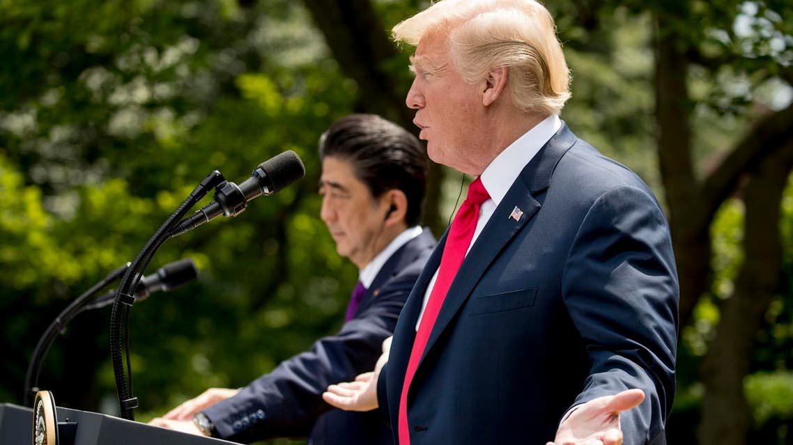 President Donald Trump accompanied by Japanese Prime Minister Shinzo Abe (left), speaks during a news conference in the Rose Garden at the White House on June 7, 2018, in Washington. (AP)