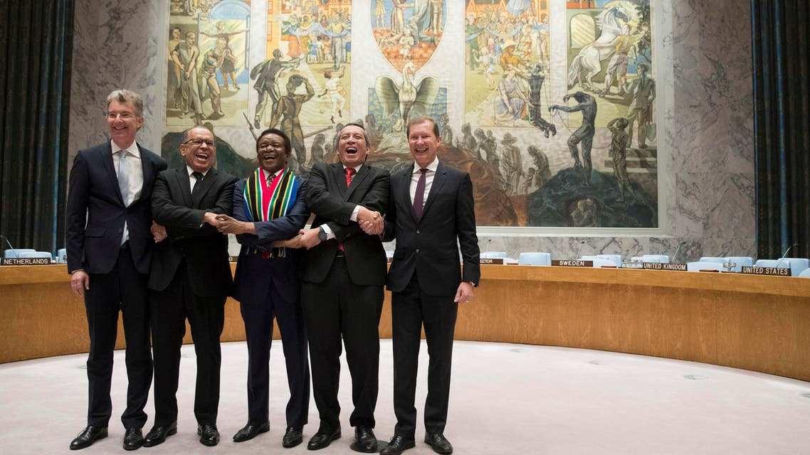 Indonesia ambassador to the United Nations Dian Triansyah Djani (second right) with ambassadors representing the other four countries, the Dominican Republic, South Africa, and Belgium at the Security Council chambers after their countries were elected as five non-permanent members of the Security Council. (AP)
