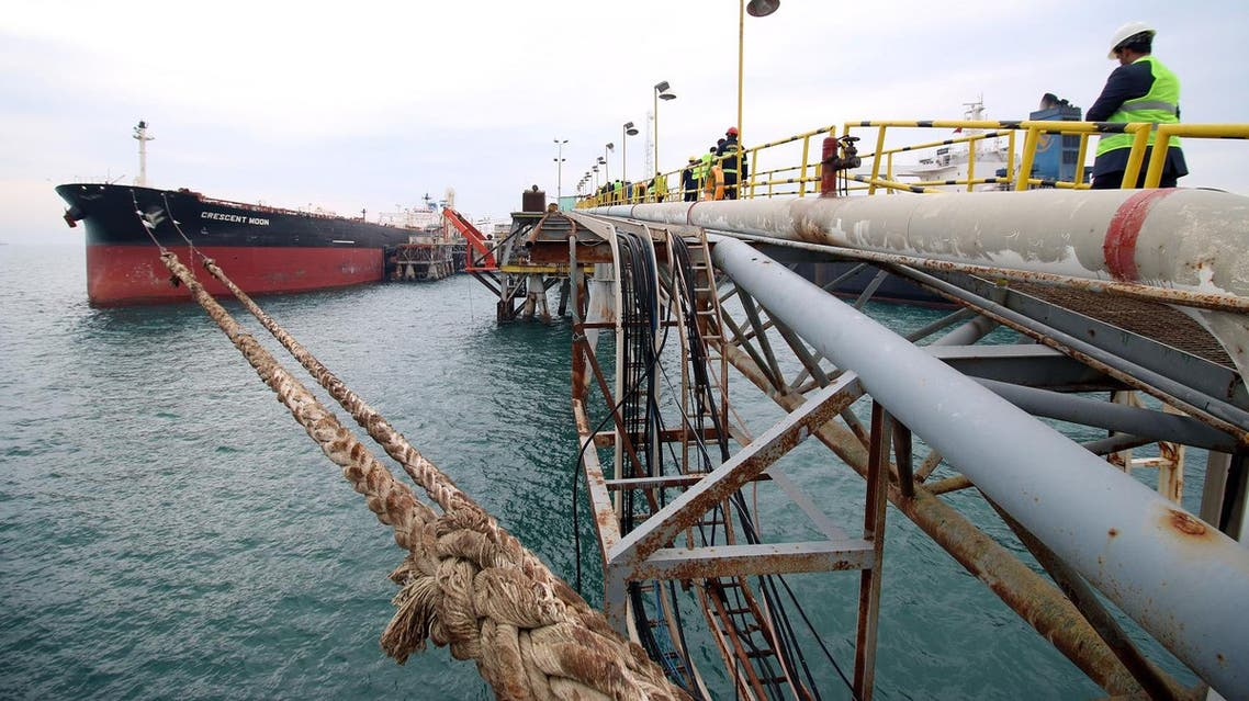 File photo of an oil tanker at a floating platform, offshore from the southern Iraqi port city of Al Faw, 90 kilometers south of Basra. (AFP)