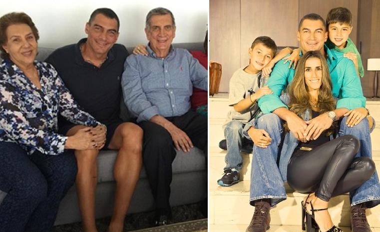 موندراغون في 2014 مع طليقته الكولومبية وابنيه منها، لوقا وباولو، البالغان حالياً 11 و10 سنوات،وصورة قبل عامين مع والديه وسيلة وكميل علي، المتحدران بالهجرة من لبنان
