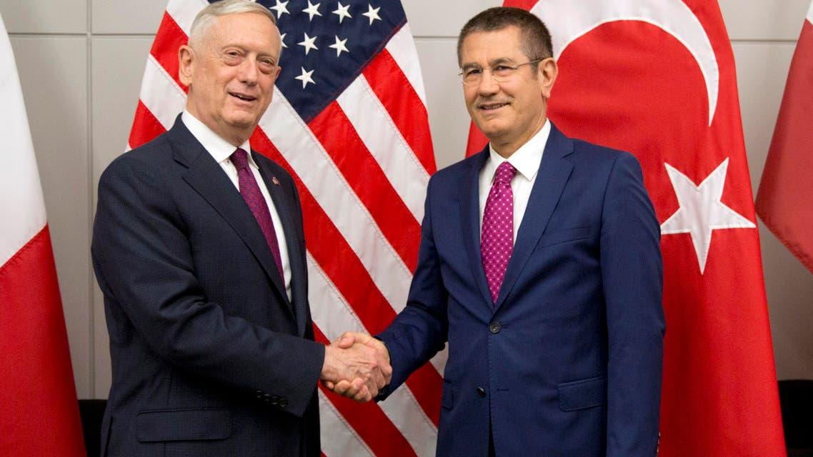 US Secretary for Defense Jim Mattis and the Turkish Defense Minister Nurettin Canikli at NATO defense ministers meeting. (AP)