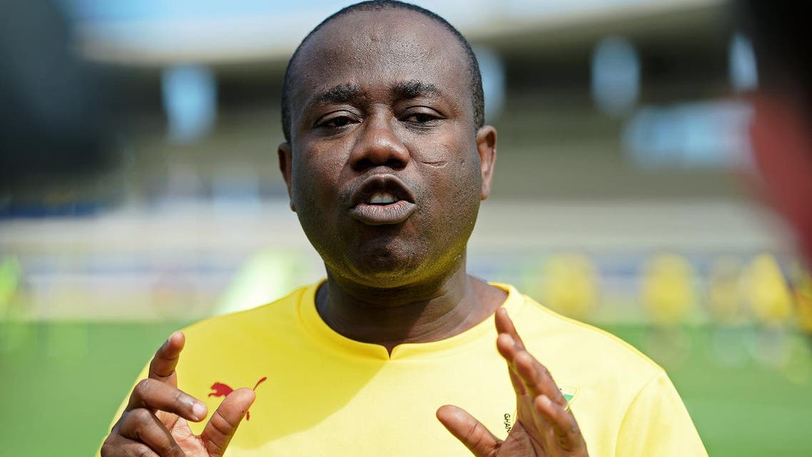 President of the Ghana Football Association, Kwesi Nyantakyi gestures as he gives an interview