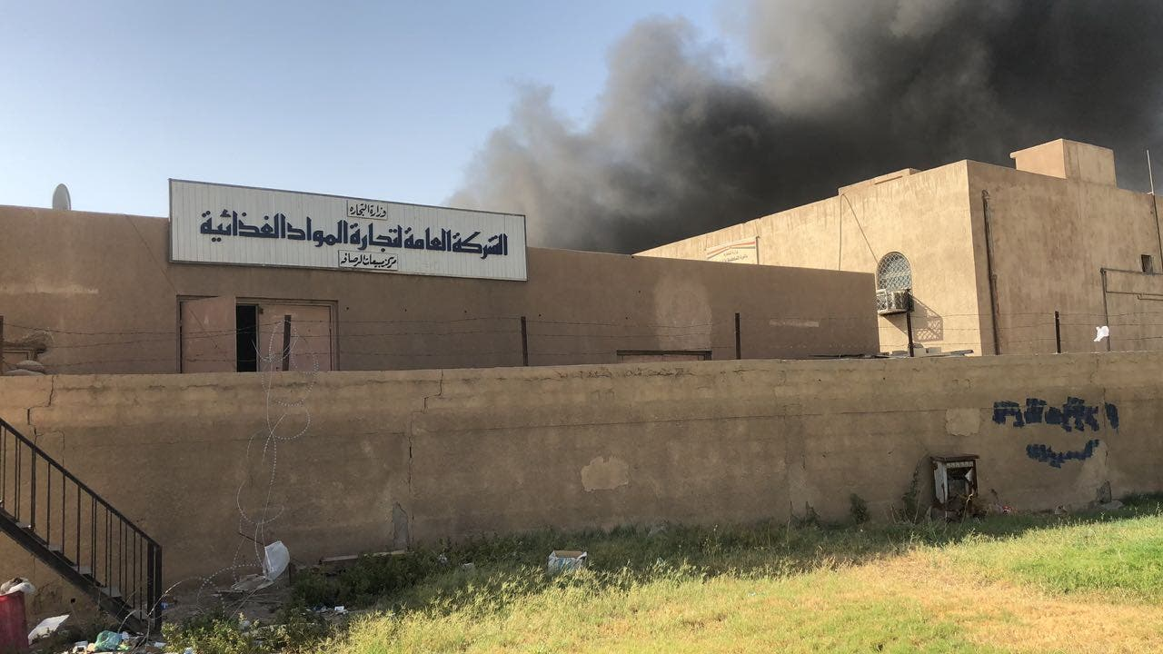 Baghdad warehouse blaze holding ballot boxes. (Supplied)