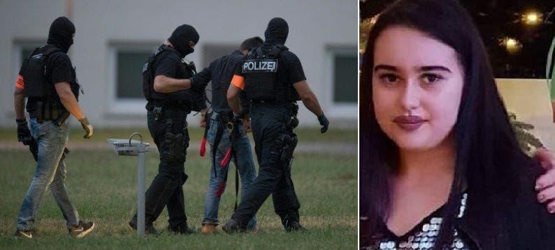 الضحية سوزانا فيلدمان، ومغتصبها حين تم نقله الى مركز للاحتجاز بفرانكفورت مساء السبت