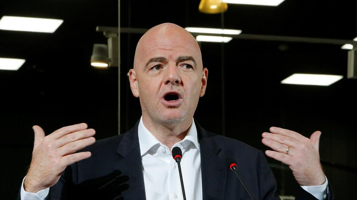 FIFA President Infantino takes part in the opening of the 2018 World Cup International Broadcast Centre in Moscow. (Reuters)