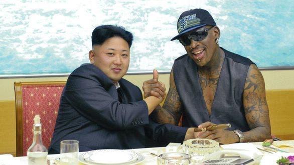 زعيم كوريا الشمالية وDennis Rodman أحد نجوم كرة السلة في أميركا