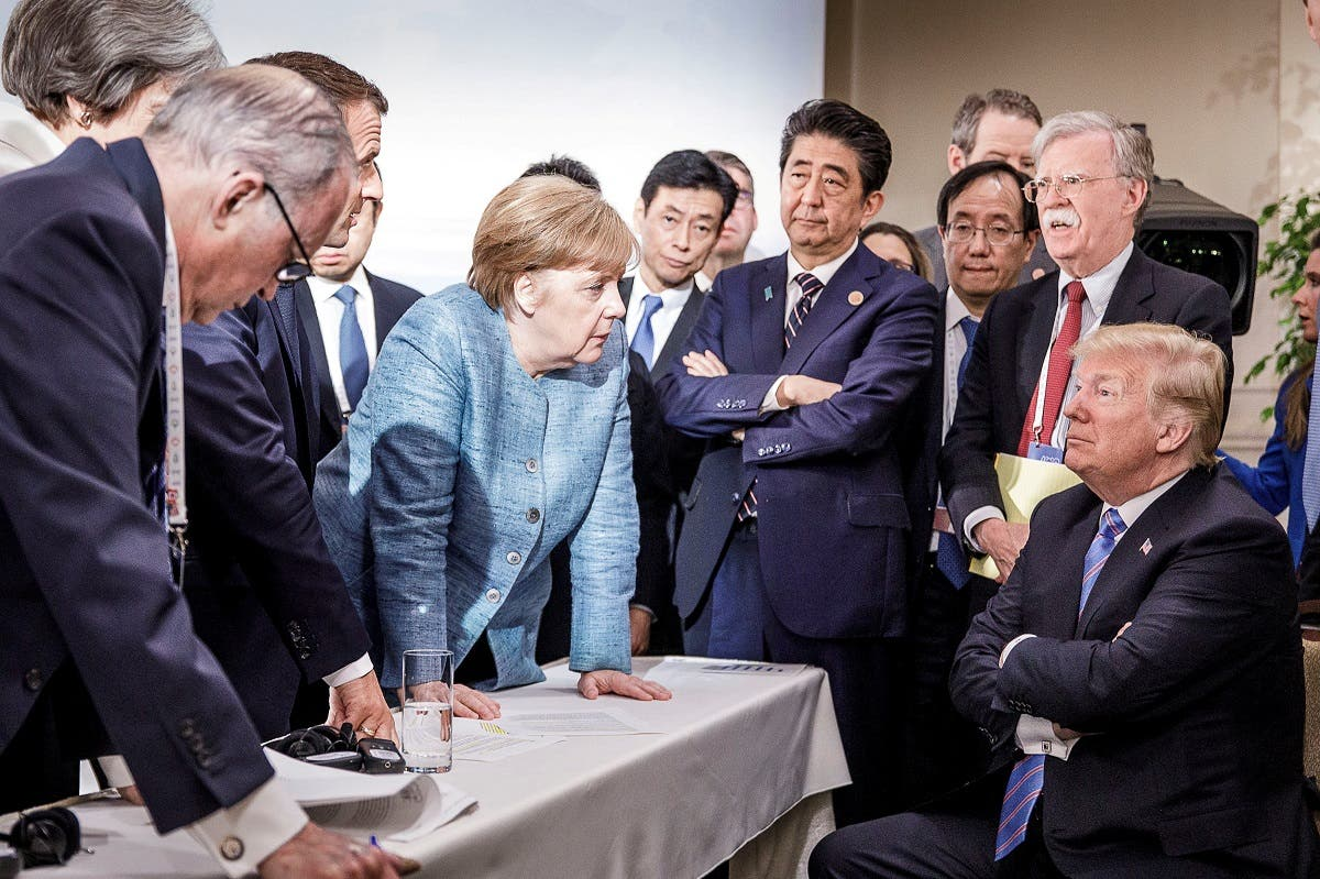 German Chancellor Angela Merkel speaks to U.S. President Donald Trump during the second day of the G7 meeting in 2018. (File photo: Reuters)