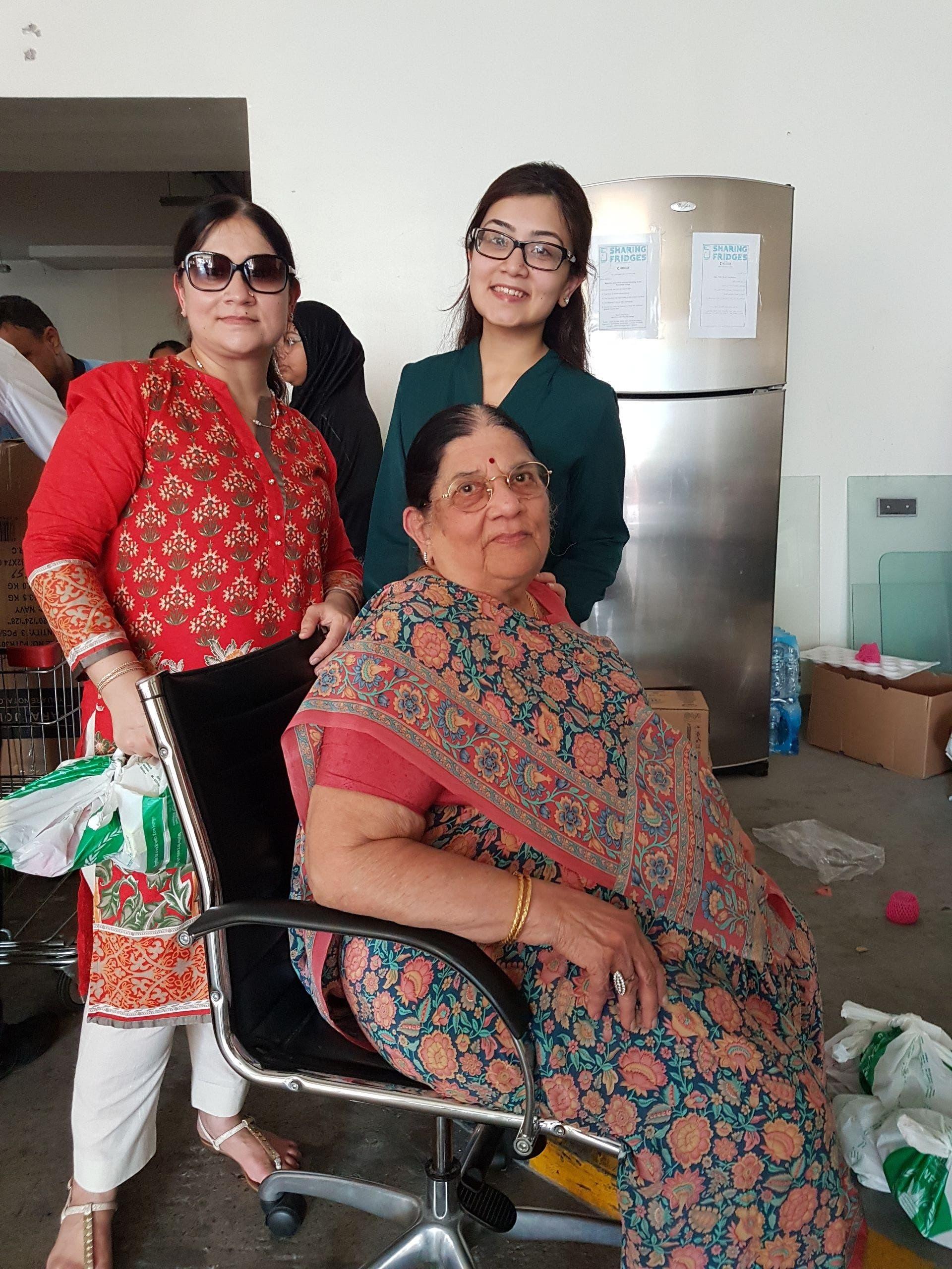 87-year-old Krishna Bhatia from Singapore volunteering for Ramadan Sharing Fridges, Dubai. (Supplied)