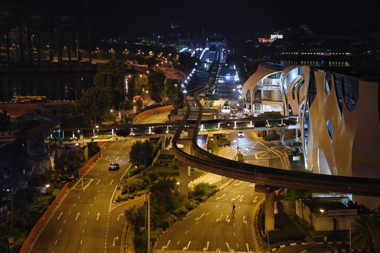 صورة جوية للمنطقة التي سيقطعها ترمب وكيم في طريقهما إلى مقر القمة في فندق كابيلا بجزيرة سنتوسا