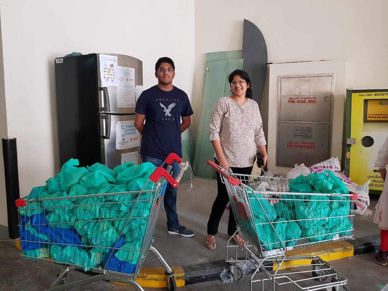 A grade 11 Indian student, Ajay, celebrating his birthday distributing Iftar 'goodie bags' for workers in Dubai. (Supplied)
