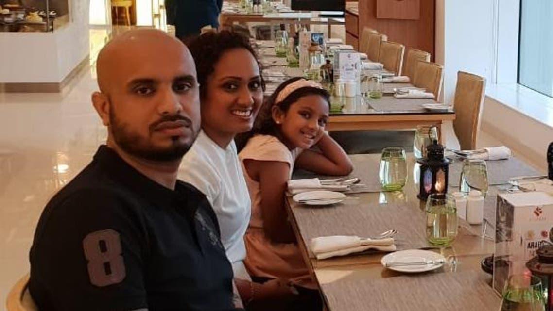 Charmilee and Navin, Sri Lankan expats waiting for Iftar with their 7 yo daughter, Kiyaana. (Supplied)
