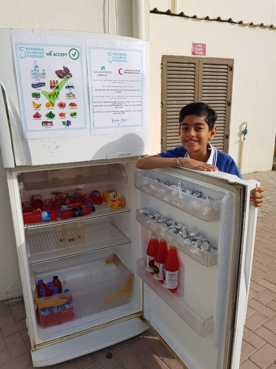10-year-old Bhuvan Kaushal of Dubai prepares Roohafza for construction workers daily during Ramadan. (Supplied)