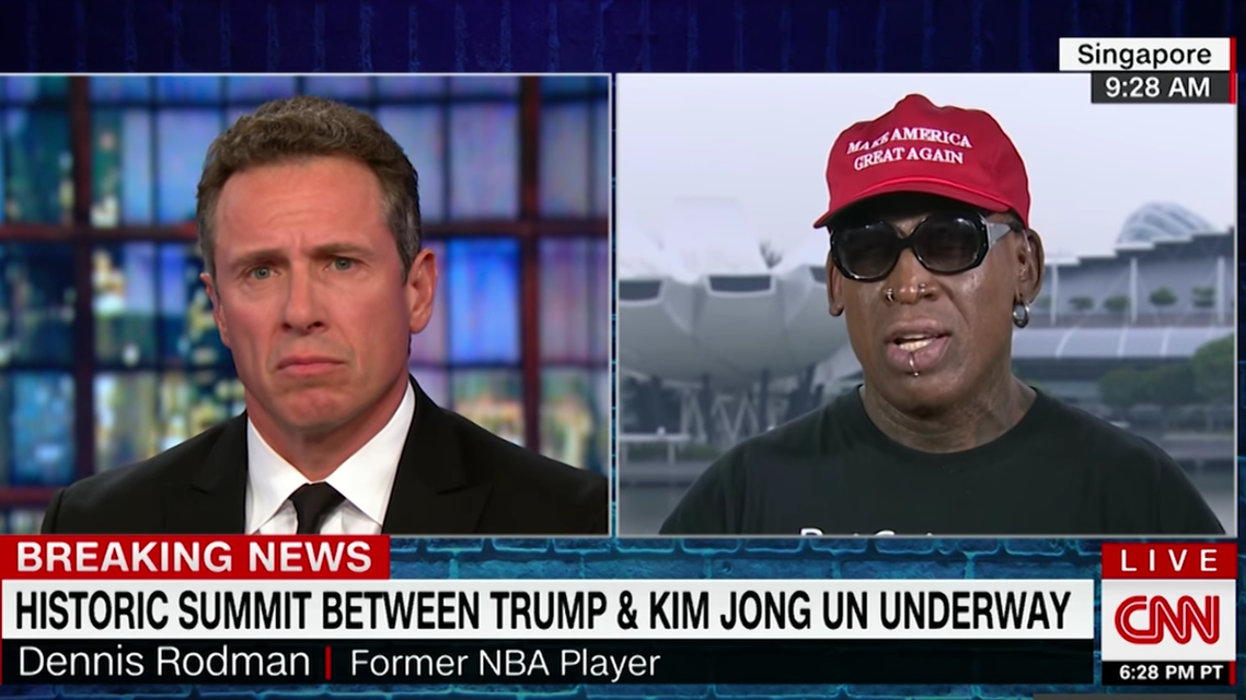 Dennis Rodman flew into Singapore late Monday to be present for the historic first summit between the two leaders. (Screengrab)