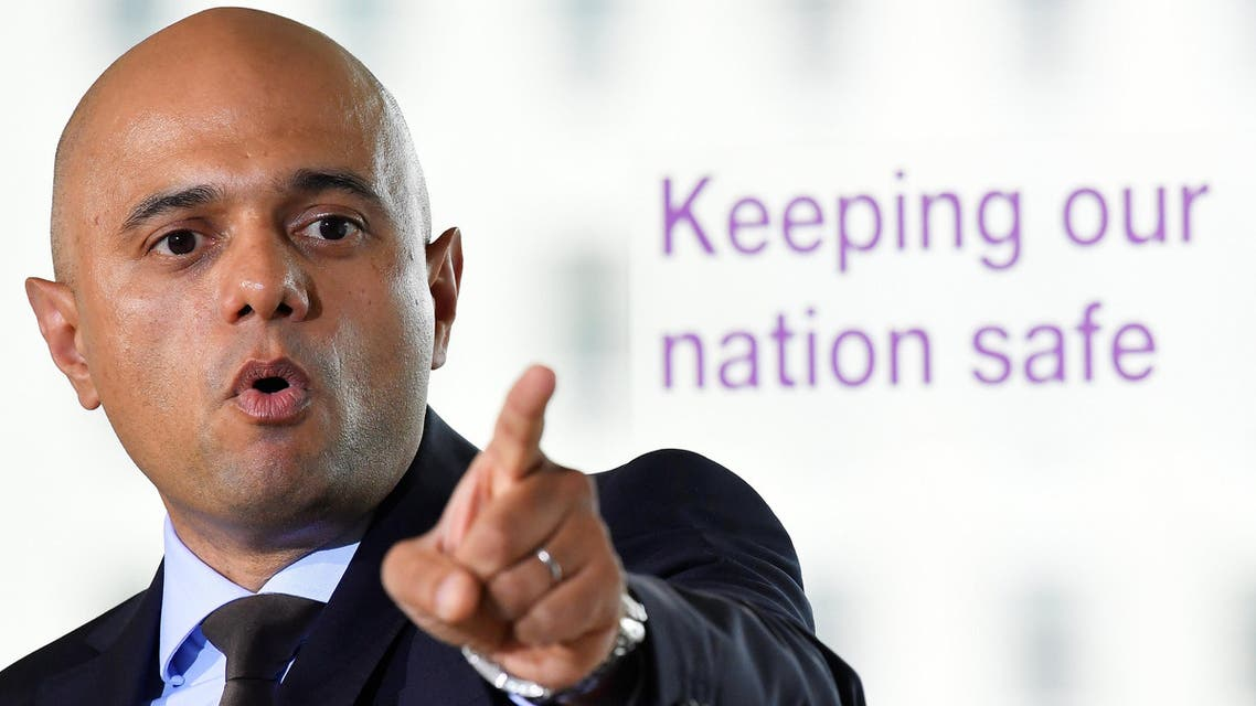 Britain's Secretary of State for the Home Department, Sajid Javid, outlines an overhaul of UK counter-terror strategy in central London on June 4, 2018. (Reuters)