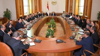 جانب من اجتماع السيسي بالحكومة الجديدة