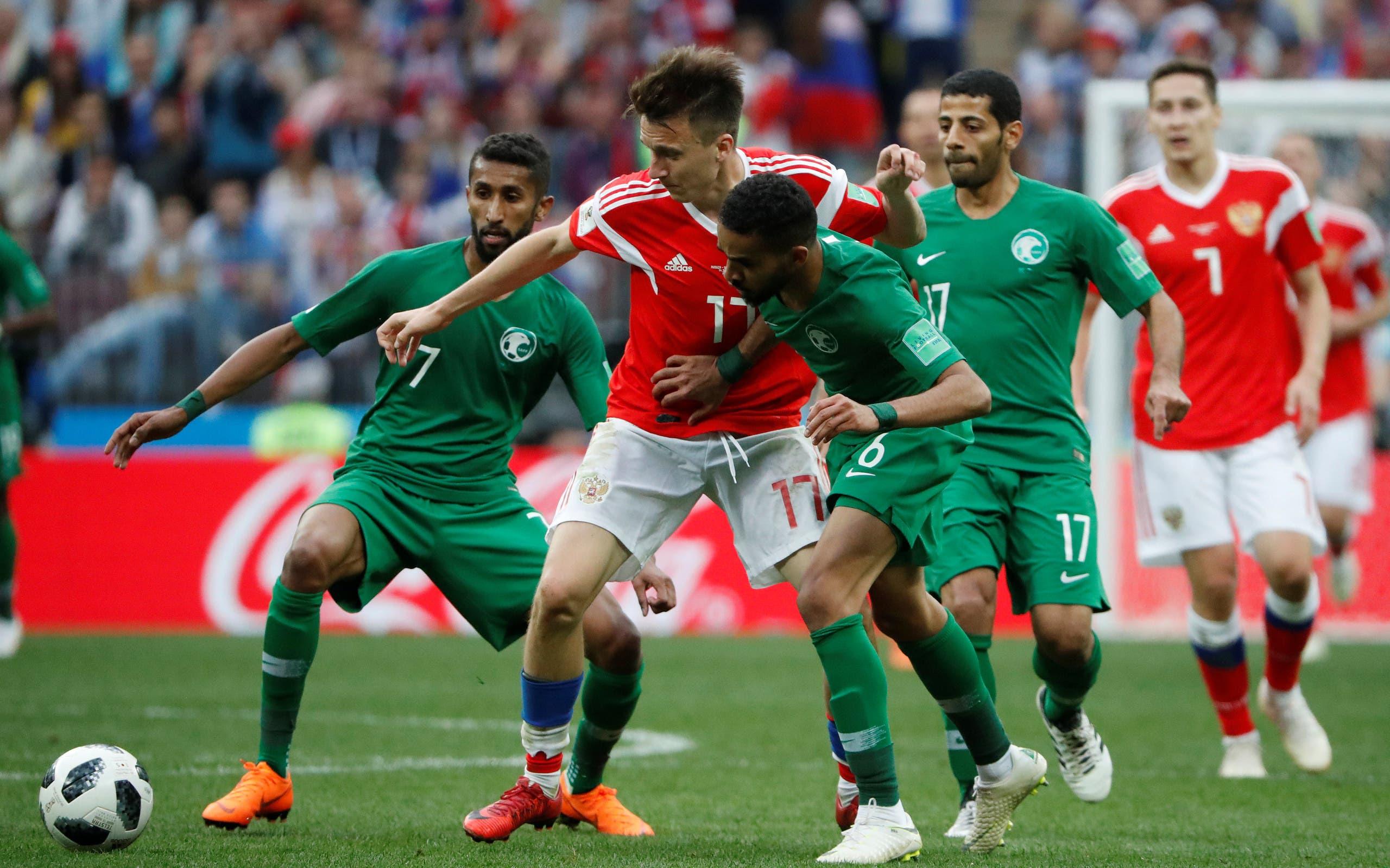 من مباراة السعودية وروسيا