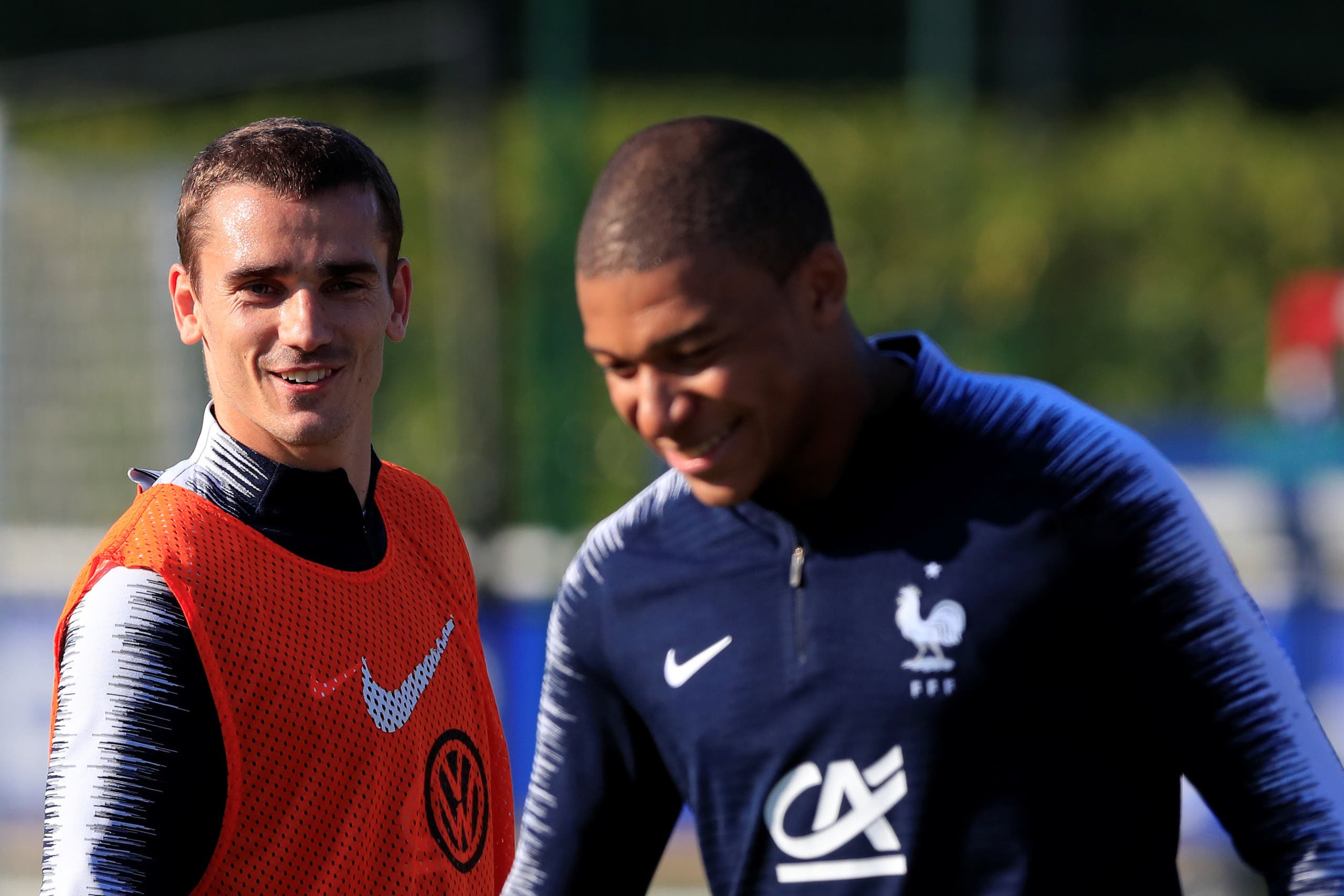 Mbappe and Griezmann during training. (Reuters)