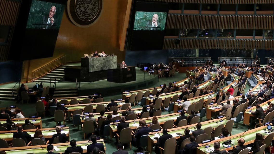 Palestinian Ambassador to the United Nations Riyad Mansour addresses a United Nations General Assembly meeting in New York. (Reuters)
