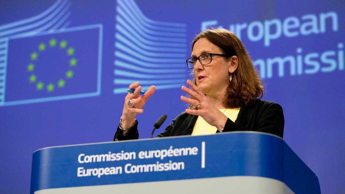 European Commissioner for Trade Cecilia Malmstrom speaks at EU headquarters in Brussels following the US announcement to impose tariffs. (AP)