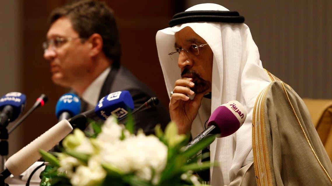 Saudi Energy Minister Khalid al-Falih and Russian Energy Minister Alexander Novak attend a news conference at the Ritz-Carlton hotel in Riyadh, Saudi Arabia February 14, 2018. (Reuters)