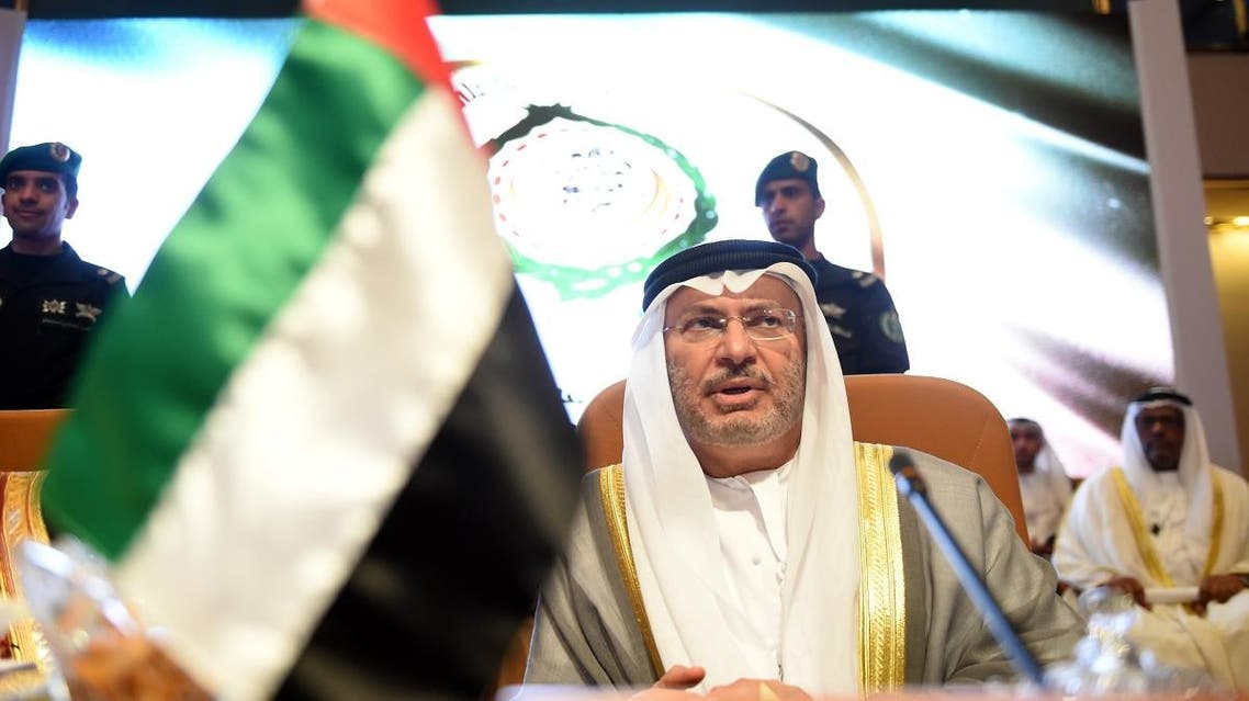 UAE Minister of State for Foreign Affairs Anwar Gargash attends the preparatory meeting of Arab Foreign Ministers ahead of the 28th Summit of the Arab League in Riyadh on April 12, 2018. (AFP)