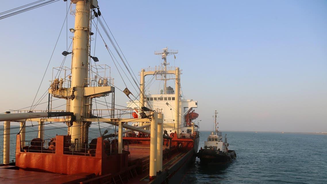 A ship carrying food aid docks at the port of the Yemeni coastal city of Hodeidah. (File photo: AFP)