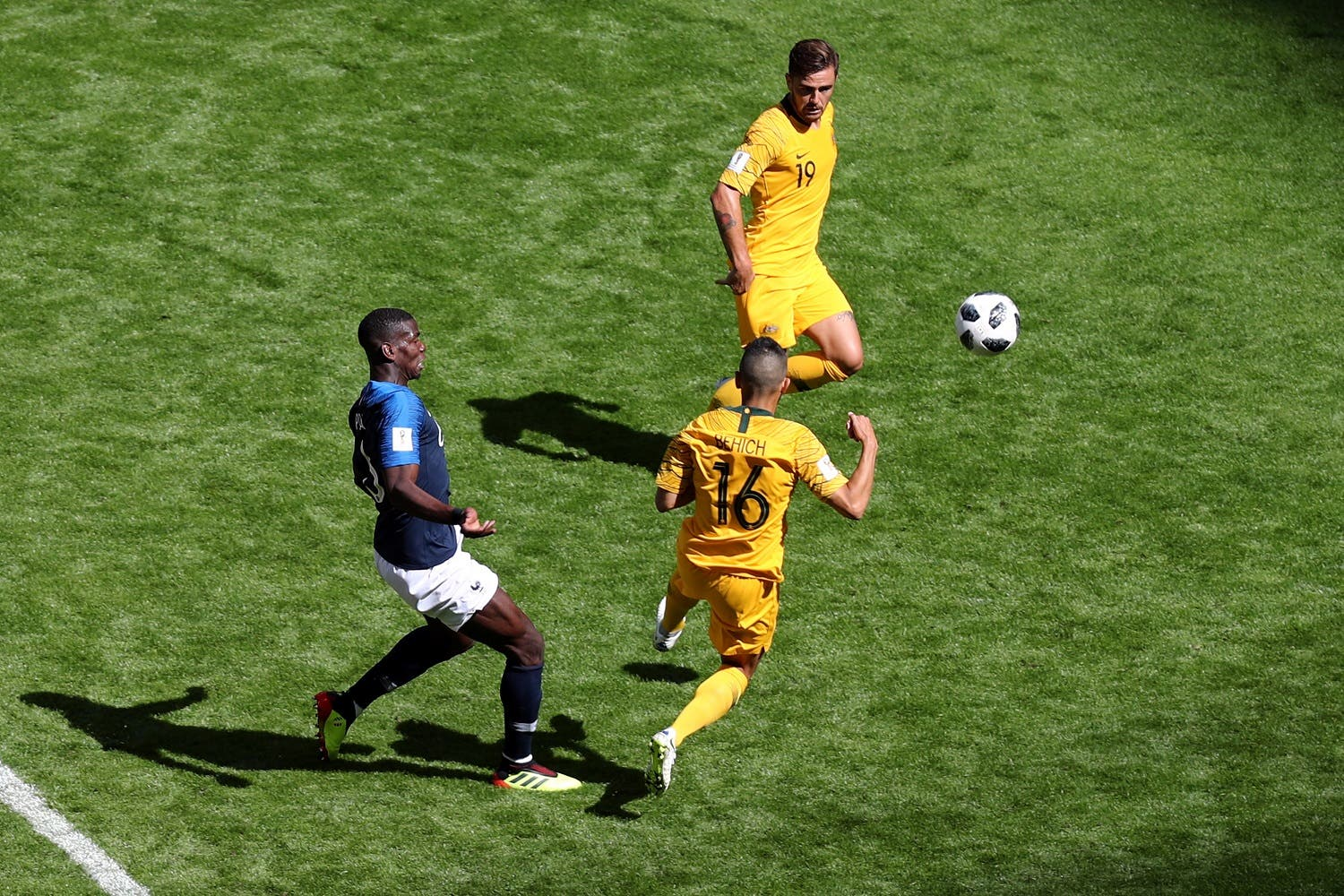 France's Paul Pogba scores their second goal against Australia in their opening World Cup Group C game. (Reuters)