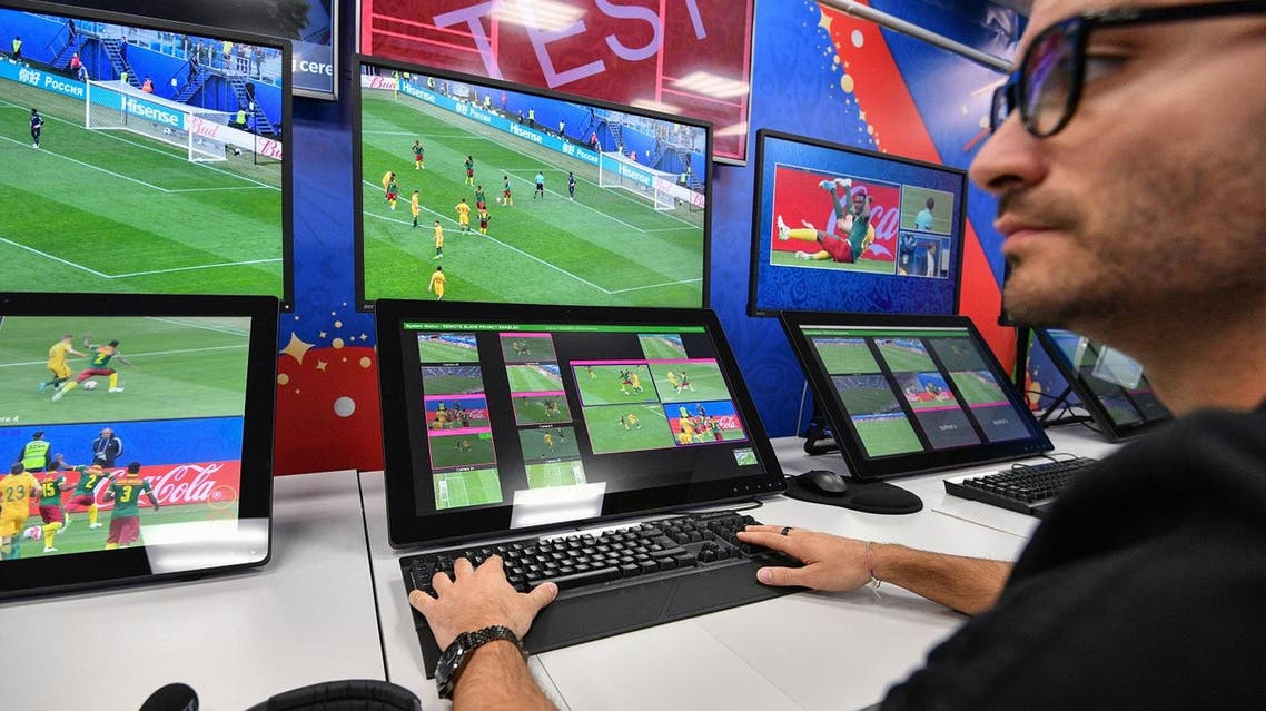 A view of the video assistant refereeing (VAR) operation room at the 2018 FIFA World Cup Russia International Broadcast Centre (IBC) in Moscow. (AFP)